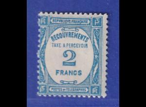 Frankreich 1929 Portomarke 2 Fr. blau Mi.-Nr. 61 ungebraucht *