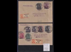 Saargebiet Aug.-Sept 1920 Lot 2 R-Briefe gelaufen in die USA