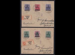 Saargebiet 26.4.1920 Lot 2 R-Briefe gelaufen von Sulzbach nach Gelsenkirchen