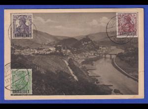 Saargebiet 27.11.1920 Mi.-Nr. 34, 44 und 46 bildseitig auf AK nach Österreich