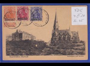 Saargebiet 4.11.1920 Mi.-Nr. 33, 35 und 45 bildseitig auf Auslands-AK ET # 45 ?