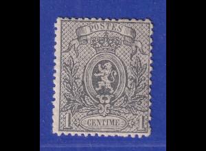 Belgien 1866 Zeitungsmarke 1 C grau Mi.-Nr. 20Aa ungebraucht *