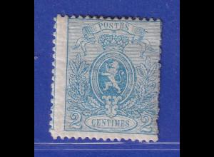 Belgien 1867 Zeitungsmarke 2 C blau Mi.-Nr. 21Aa ungebraucht *