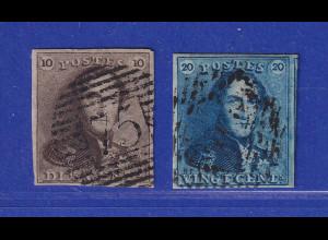 Belgien 1849 König Leopold I. 10 und 20 C Mi.-Nr. 1 und 2 gestempelt.