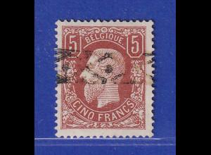Belgien 1878 König Leopold II. 5 Fr. rotbraun Mi.-Nr. 34 Ab mit Rollstempel