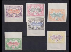 Belgien 1902-14 Eisenbahnpaketmarken Lot 6 Werte ungezähnt (*) mit Falzresten