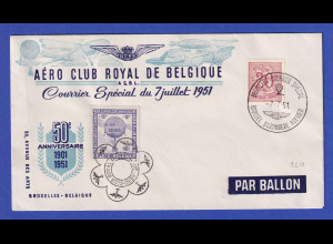 Belgien 7.7.1951 Souvenir-Umschlag Ballonpost AÉRO CLUB ROYAL DE BELGIQUE