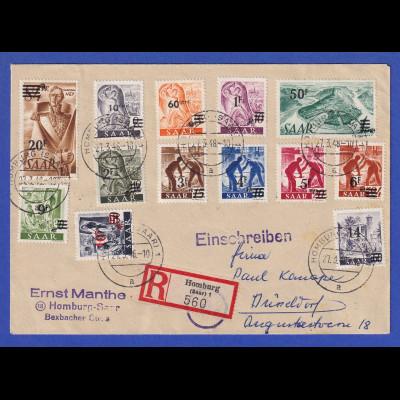 Saarland 1948 Aufdr.-Ausgabe in Type II kpl. Satz 13 Werte auf Sammler R-Brief