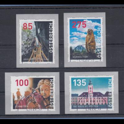 Österreich 2020 Dispenser-Marken 3. Ausgabe Heimat Satz 4 Werte neue Motive O ZN