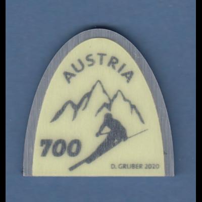 Österreich 2020 Sondermarke Skispitze Aluminium-Kunststoff neongrün **