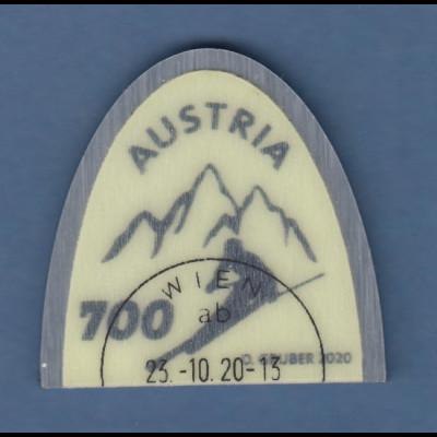 Österreich 2020 Sondermarke Skispitze Aluminium-Kunststoff neongrün O