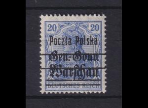 Polen 1918 Freimarke 20 Pfg. Mi.-Nr. 10 b I ungestempelt