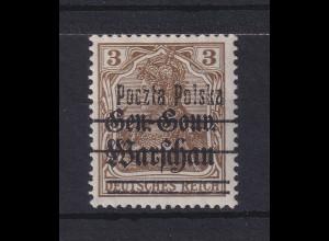 Polen 1918 Freimarke 3 Pfg. Mi.-Nr. 6 II ungestempelt