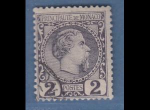 Monaco 1885 Freimarke Fürst Charles III. 2 C. Mi.-Nr. 2 gestempelt