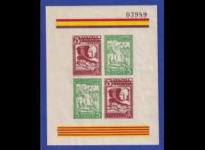 Spanien 1936-37 Lokalausgabe Bürgerkrieg VINEBRE Blockausgabe **