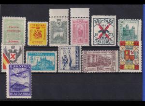 Spanien Lokalausgaben ca. 1935-38 Lot 12 Werte, meist ** oder (*)
