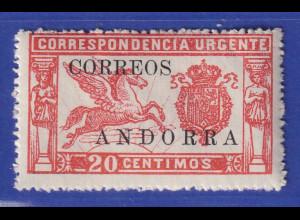 Andorra (spanische Post) 1928 Eilmarke ohne Kontr.-Nr. Mi.-Nr. 13 *