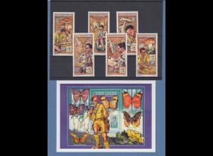 Zentralafrika1991 Pfadfinder Schmetterlinge Pilze Mi.-Nr. 1652-57 und Block 571A