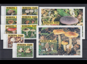 Burkina Faso 1996 Pfadfinder Pilze Mi.-Nr. 1384-91A und Block 159-160A