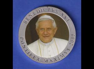 Medaille Papst Benedikt XVI. PONTIFEX MAXIMUS 2005, coloriert