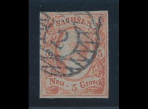 Altdeutschland Sachsen 5 Groschen orangerot Mi-Nr. 12b O, Fotobefund Rismondo