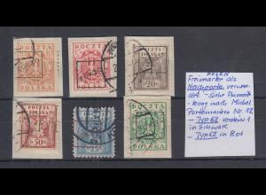 Polen / Polska 1919 Freimarken als Portomarken überdruckt. Lot 6 Werte O, 2 gpr.