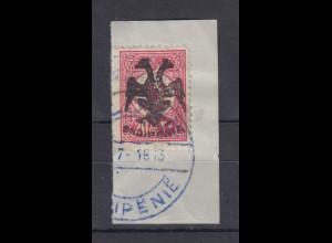 Albanien 1913 Türk. Marken mit Aufdruck 20Pa Mi.-Nr. 6x gest. auf Briefstück