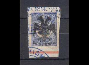 Albanien 1913 Türk. Marken mit Aufdruck 1Pia Mi.-Nr. 7 gest. auf Briefstück
