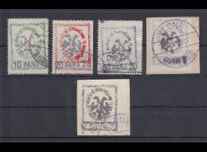 Albanien 1913 Handstempel mit Adler und Wertangabe Mi.-Nr. 24-28 Satz kpl. O