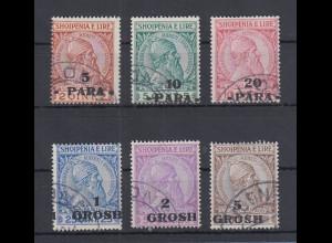 Albanien 1914 Skanderbeg m. Aufdruck Mi.-Nr. 41-46 Satz 6 Werte kpl. gest.