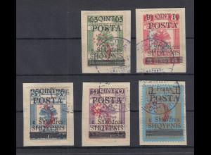 Albanien 1919 Stempelmarken mit Aufdruck Mi.-Nr. 48-52 II gestempelt