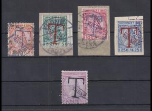 Albanien 1914 Portomarken Mi.-Nr. 1-5 Satz kpl. gestempelt