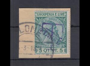 Albanien 1914 Portomarke 5Q Abart Aufdruck blau Mi.-Nr. 2a gestempelt