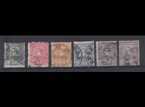 Serbien 1880 Freimarken König Milan IV. Mi.-Nr. 22-27 Satz kpl. O