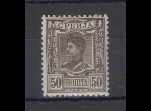 Serbien 1890 Freimarken König Alexander I. 50 Pa Mi.-Nr. 33 ungebraucht *