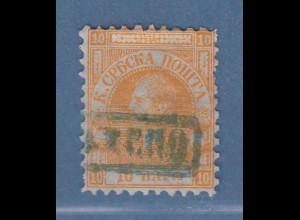 Serbien 1866 Freimarke 10 Pa orange auf Pelure-Papier Mi.-Nr. 4x gestempelt