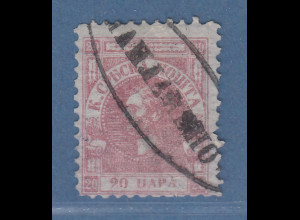 Serbien 1866 Freimarke 20 Pa rosa auf Pelure-Papier Mi.-Nr. 5x gestempelt