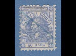 Serbien 1866 Freimarke 40 Pa ultramarin auf dünnem Papier Mi-Nr. 6y gestempelt