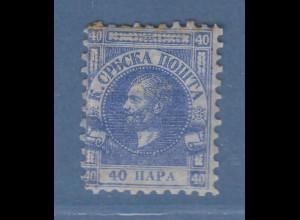 Serbien 1866 Freimarke 40 Pa ultramarin auf Pelure-Papier Mi.-Nr. 6x *
