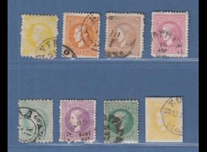 Serbien 2. Ausgabe 1869-80 Lot 8 Werte gestempelt.