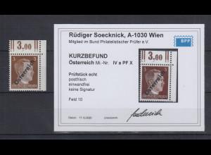 Österreich 1945 Aushilfsausgabe 3Pf. Mi.-Nr. IVa PF X Ecke ** KB Soecknick BPP