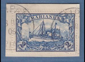 Dt. Kolonien Marianen 2 Mark Mi-Nr. 17 sauber gestempelt SAIPAN auf Unterlage