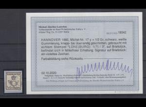 Altdeutschland Hannover Mi.-Nr. 17y gest. einwandfrei, Fotobefund Jäschke-L. BPP