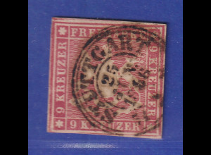 Württemberg 9 Kreuzer karmin Mi.-Nr. 9a gestempelt STUTTGART gpr. Heinrich BPP