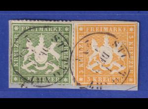 Württemberg Mi.-Nr. 12a und 18xa auf Briefstück, gpr. Heinrich BPP