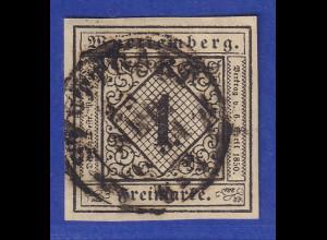 Württemberg 1851 1 Kreuzer Mi.-Nr. 1a O STUTTGART gpr. Heinrich BPP