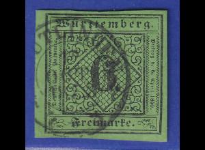 Württemberg 1851 6Kreuzer Mi.-Nr. 3a Type I O REUTLINGEN gpr. Heinrich BPP
