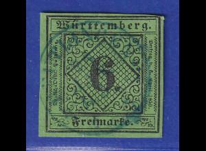 Württemberg 1851 6Kreuzer Mi.-Nr. 3a Type I gestempelt gpr. Heinrich BPP