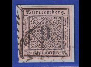 Württemberg 1851 9Kreuzer Mi.-Nr. 4a gestempelt gpr. Heinrich BPP