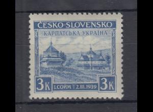 Karpaten-Ukraine 1939 Holzkirche in Jasina 3K violettblau Mi-Nr. 1 ungebraucht *